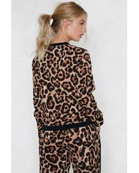 Nasty Gal - Brown Moving On Up Leopard Track Jacket - Lyst