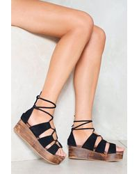 Nasty Gal - Black Wood Wedge Leather Lace Up Sandals Wood Wedge Leather Lace Up Sandals - Lyst