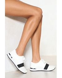 Nasty Gal - White Run With It Vegan Leather Sneaker - Lyst