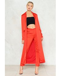 Nasty Gal - Orange Carry On Satin Duster Jacket - Lyst