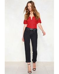 """Nasty Gal - Red """"we V You Lace Bodysuit"""" - Lyst"""