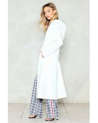 Nasty Gal - White Hit The Trench Vinyl Duster Coat - Lyst