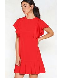 Nasty Gal - Red Wow Ruffle Dress - Lyst