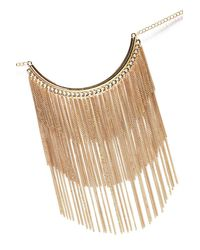 Nasty Gal - Metallic Metal Tassel Bib Style Statement Necklace Metal Tassel Bib Style Statement Necklace - Lyst
