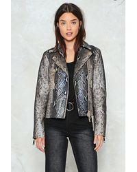 Nasty Gal - Natural Wild And Free Snake Moto Jacket - Lyst