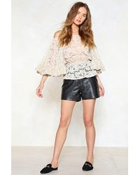Nasty Gal - Natural Lace Up To It Off-the-shoulder Top - Lyst
