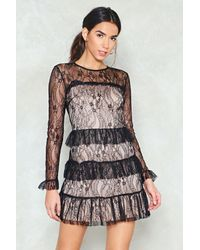 "Nasty Gal - Black ""lace It Head-on Ruffle Dress"" - Lyst"