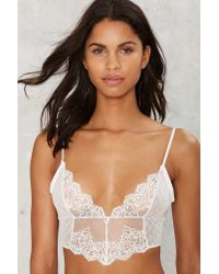 Nasty Gal - Midnights Lace Bra - White - Lyst