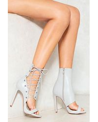 Nasty Gal - Gray Corset Side Vegan Leather Heeled Sandal Corset Side Vegan Leather Heeled Sandal - Lyst