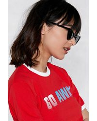Nasty Gal Black Know Your Angles Cat-eye Shades