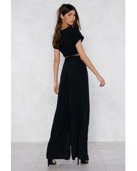Nasty Gal - Black Slit Or Miss Crop Top And Pants Set - Lyst