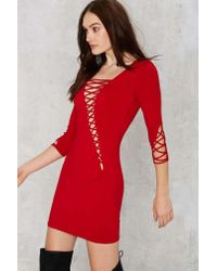 0e09064889 Lyst - Nasty Gal Margaux Lace-up Bodycon Dress - Red in Red