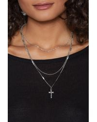 Nasty Gal - Metallic Cross With You Layered Necklace - Lyst