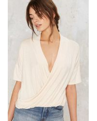 Nasty Gal - White Nasty Gal Twist Connections Plunging Top - Lyst