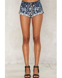 Glamorous - Blue Stem The Tide Embroidered Shorts - Lyst