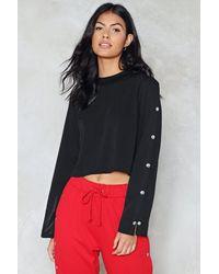Nasty Gal - Black Popper Sleeve Crop Sweater Popper Sleeve Crop Sweater - Lyst
