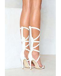 Nasty Gal - White Vegan Leather Tie Up Leg Sandals Vegan Leather Tie Up Leg Sandals - Lyst