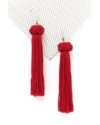 Nasty Gal | Red Bead Ball Long Tassel Earrings Bead Ball Long Tassel Earrings | Lyst