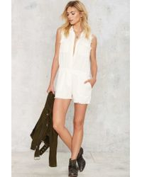 Nasty Gal - White Raw Deal Cargo Romper - Lyst