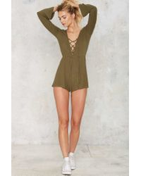 Nasty Gal - Green Down To Earth Ribbed Romper - Lyst