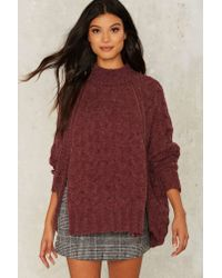 Nasty Gal | Red Aux Cable Knit Sweater - Burgundy | Lyst