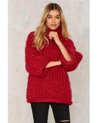 Nasty Gal - Red Heavy Knitter Chunky Sweater - Lyst