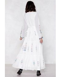 Nasty Gal - White What She Thread Embroidered Dress - Lyst