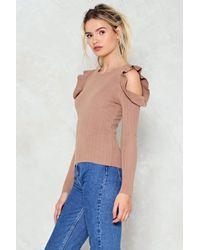 Nasty Gal - Blue I'm Knit Kidding Cold Shoulder Sweater - Lyst