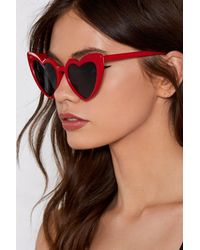 Nasty Gal - Red Open Your Heart Shades - Lyst