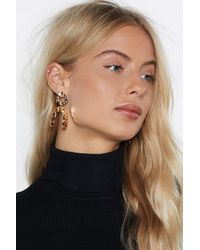 """Nasty Gal - Metallic """"you're Going Down Hammered Earrings"""" - Lyst"""