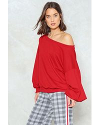 Nasty Gal - Red Off Shoulder Oversized Sweatshirt - Lyst