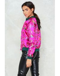Nasty Gal - Pink All Systems Are Grow Satin Bomber Jacket All Systems Are Grow Satin Bomber Jacket - Lyst