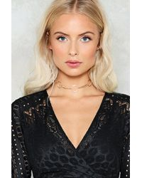 Nasty Gal - Metallic Curb Chain And Girle Link Choker Curb Chain And Girle Link Choker - Lyst