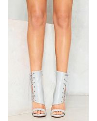 Nasty Gal - Gray Corset Side Vegan Leather Heeled Sandal Corset Side Vegan Leather Heeled Sandal - Lyst