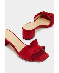 "Nasty Gal - Red ""mule Breaker Ruffle Heel"" - Lyst"