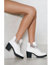 "Nasty Gal White ""chain It In Ankle Bootie"""