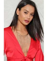 Nasty Gal | Metallic Metal Tassel Bib Style Statement Necklace Metal Tassel Bib Style Statement Necklace | Lyst
