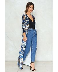 Nasty Gal - Blue Long Time No See Floral Duster Jacket - Lyst