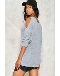 Nasty Gal - Gray Knit While You're Ahead Sweater - Lyst