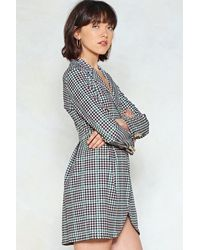 Nasty Gal - Black Check With Me First Blazer Dress - Lyst