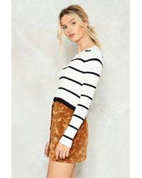 Nasty Gal - White Send Me A Line Striped Sweater - Lyst