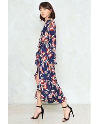 Nasty Gal - Blue Frill Hem Wrap Midi Dress Frill Hem Wrap Midi Dress - Lyst