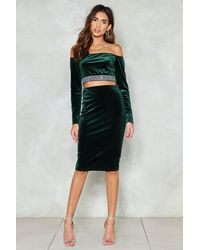 Nasty Gal - Green Feel For You Velvet Midi Skirt - Lyst