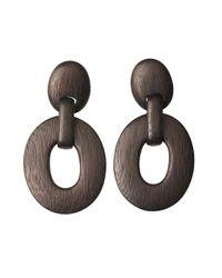 Natori | Black Acacia Wood Oval Link Earrings | Lyst
