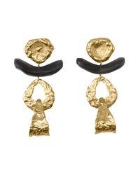 Natori - Metallic Josie 24k Goldplated Brass With Darkwood Drop Cutout Earrings - Lyst