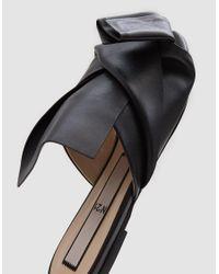 N°21 - Black Flat Leather Bow Flat - Lyst
