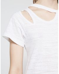 LNA - Double Cut Tee In White - Lyst