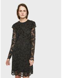 Ganni - Black Flynn Ruffle Trim Lace Dress - Lyst
