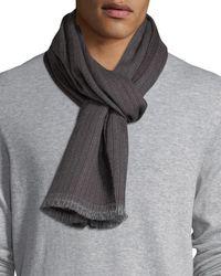 Ermenegildo Zegna - Gray Ribbed Wool Scarf for Men - Lyst