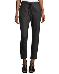 Eileen Fisher - Gray Stretch-flannel Twill Slouch Pants - Lyst